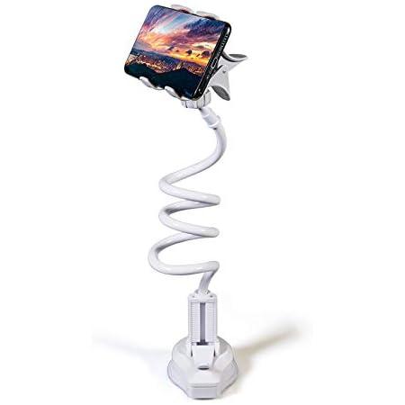 【2021最新改良モデル】スマホアーム スタンド スマホホルダー フレキシブルアーム 寝ながらスマホ スマホ スタンド 吸盤 卓上ホルダー 携帯電話用ベッドホルダー 360°自由回転 角度調整可能 クランプ式 螺旋式 4~6.4インチ対応 一年品質保証付き