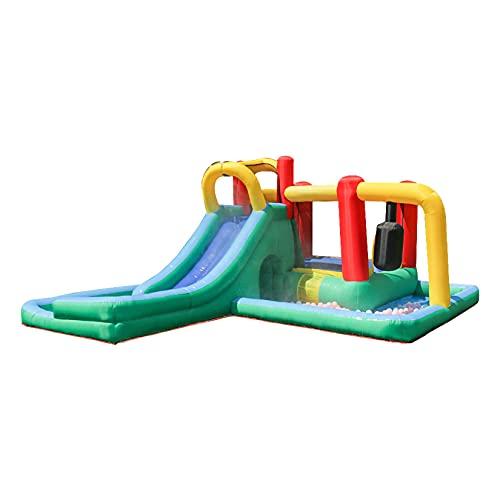 AIYIFU Castillo Hinchable Slide Park con Tobogán para Niños Up Cama Elástica Castillo Hinchable Bouncetastic para Parque Patio Jardín,