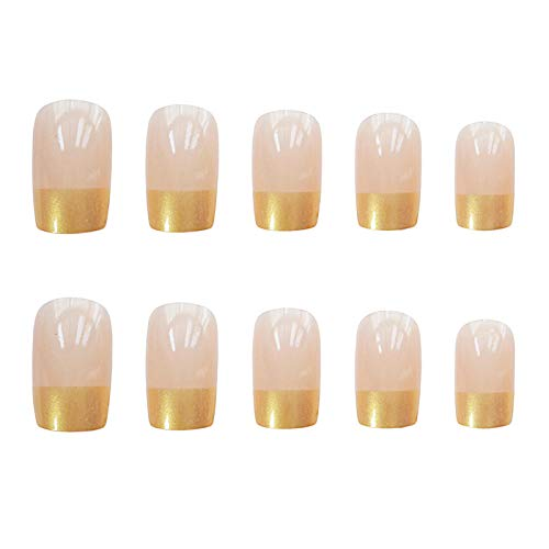 CSCH Faux ongles New arrival French golden pure color false nails 24pcs with glue Middle-long size lady full nail tips bride cute fake nails