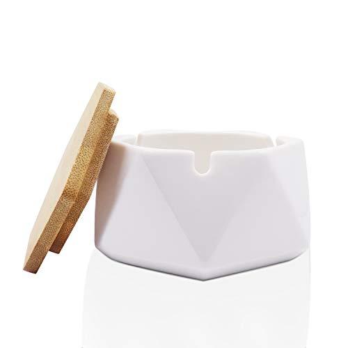 Auspicious beginning Aschenbecher Keramik für mit Deckel, Winddicht, Windaschenbecher,Tischaschenbecher mit Bambus Modern Dekoration für Drinnen Draußen - Weiß