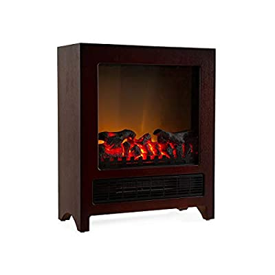 Klarstein Zermatt Electric Fireplace with Flame Effect - 750/1500 W, Switchable Heating Function, Thermostat, InstaFire Principle, 20 m², Retro Design, Wenge