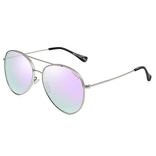 parzinkk Gafas De Sol Polarizadas Montura De Metal La Sra. Trends Gafas De Sol Espejo De Conducción Marco Plateado Plateado Rosa Púrpura