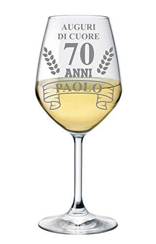 bubbleshirt Calice Vino Personalizzato con Nome Incisione Compleanno 70 Anni - Auguri di Cuore - Evento - Idea Regalo Compleanno - Bicchiere in Vetro Chiaro, ca 500ml