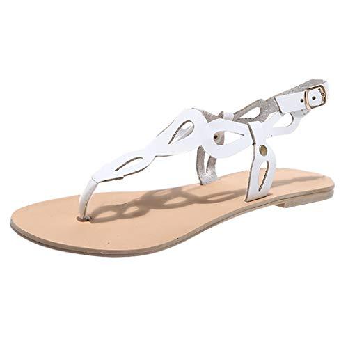 ZIYOU Damen T-Strap Sandalen, Freizeit Flach Sandalen Weiche Adjustable-Strap Pumps Casual Strandschuhe Sommerschuhe (Weiß,40 EU)