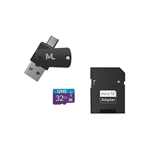 Cartão de Memória 4X1 Ultra High Speed até 80 Mb/S UHSL 32GB + Adaptador SD USB Dual MC151 Classe 10, Multilaser, Cartões SD, Preto