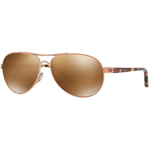 Oakley Women's OO4079 Feedback Aviator Metal Sunglasses, Rose Gold/Prizm Tungsten Polarized, 59 mm
