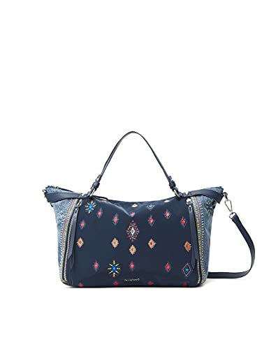 Desigual Bols_July Tribu Lib, Mano Bag para Mujer, Azul, Einheitsgröße