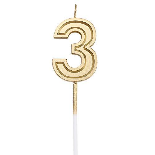 URAQT Geburtstag Zahl Kerzen 3, Gold Glitzer Geburtstagskerzen, Dekorative Geburtstagstorte, Hochzeitsparty, Abschlussfeier Usw.