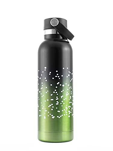 PAIDE P Bottiglia d'acqua in acciaio inossidabile. BPA Free Double Wall Thermal Insulated Hot Cold Drinks, tea coffee. 500 ML. (1819 - Nero Verde)