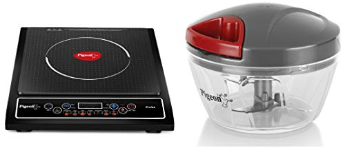 Pigeon by Stovekraft Cruise 1800-Watt Induction Cooktop (Black) & Pigeon by Stovekraft Handy Mini Plastic Chopper with 3 Blades, Grey