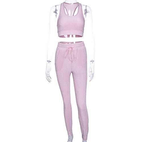 Owenqian Gym Leggings mit Taschenhose Frauen Fitness Yoga anzüge Weste Anzug Frauen Silber seidenhose Fitness Anzug Sporthosen Kompressions-Workout-Laufhose (Größe : S)