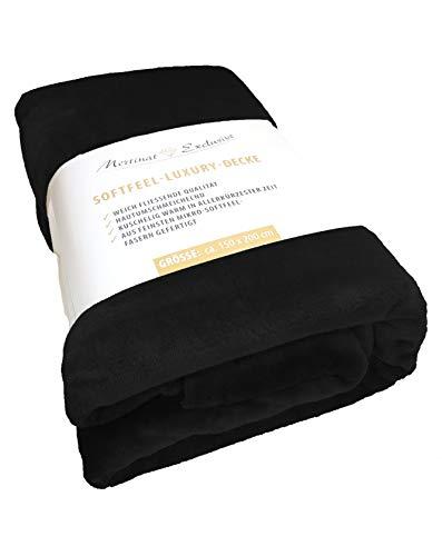 Mertinat Exclusive Premium Plus Microfaser Wohndecke 320 g/m² - 150x200 cm, Schwarz