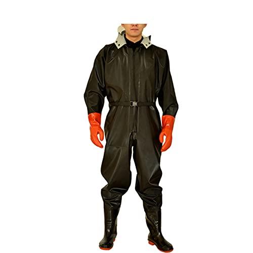 HGYJ vadeadores de Pesca, Pantalones de vadeo Impermeables con Botas,Traje de Pesca de una Pieza con Engrosamiento de Cuerpo Entero, Unisex,Black Gloves,40