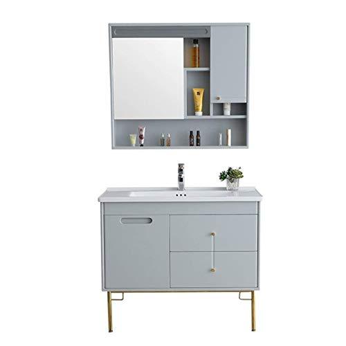 HIZLJJ Armarios con espejo Gabinete de lavabo de baño Simple, gabinete de baño de madera, vanidad de cerámica y gabinete de espejo, gabinete de baño de pared, gabinete de lavabo, gabinete (color: gris