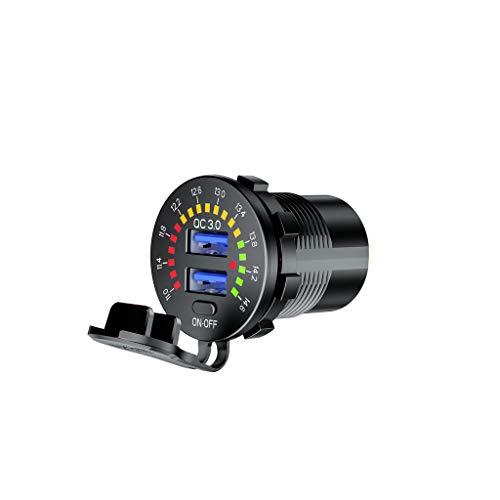 gszfsm001 - Cargador doble USB para coche, 12 V, 24 V, QC3.0 con interruptor LED