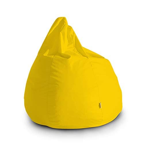 Avalon Pouf Poltrona Sacco Grande Bag L Jive 80x80x100cm Made in Italy in Tessuto antistrappo Imbottito Colore Giallo Limone