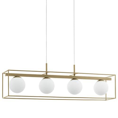 Eglo Vallaspra - Lampada a sospensione a 4 luci, in acciaio, colore: champagne, vetro bianco opalino opaco, attacco E14