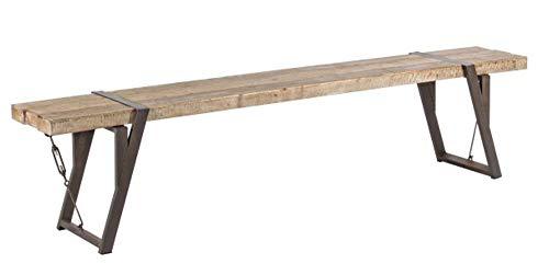 PEGANE Banc en Bois de pin et Fer - Dim : L 200 x P 34 x H 46 cm