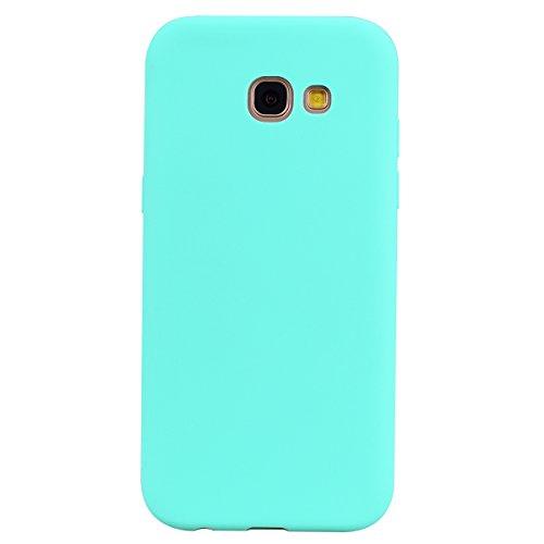 cuzz Funda para Samsung Galaxy A3 2017+{Protector de Pantalla de Vidrio Templado} Carcasa Silicona Suave Gel Rasguño y Resistente Teléfono Móvil Cover-Azul Claro