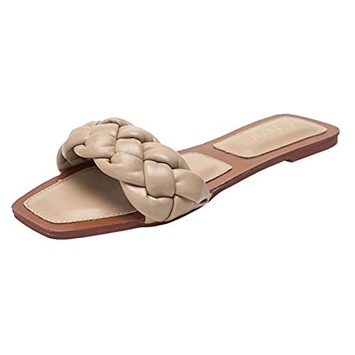 SKYWPOJU Zapatillas para Mujer Sandalias Planas con Punta Abierta Cuadrada Slip On Mule Slipper Weave Ladies Slides Zapatos de Tacón Bajo (Color : Apricot, Size : 41)