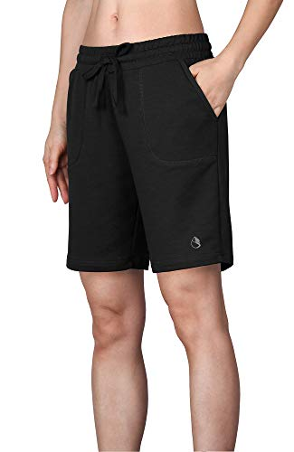icyzone Damen Sweatshorts Bermuda Shorts Kurze Sporthose Sweatpants Einfarbig Loose Laufshorts (L, Schwarz)