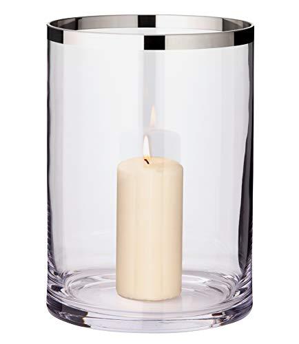 EDZARD Windlicht Molly, mundgeblasenes Kristallglas mit Platinrand, Höhe 25 cm, Durchmesser 18 cm, für Stumpenkerzen