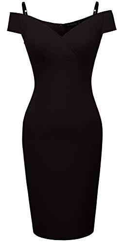 HOMEYEE Damen Vintage Blumendruck Off Shoulder Riemchen Knielänge Bodycon Enges Kleid B309 (EU 38 (Herstellergroesse: M), Schwarz)