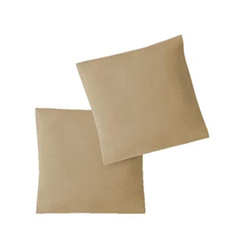 EXKLUSIV HEIMTEXTIL Housse de taies d'oreiller en Jersey 2 Pack économique avec Fermeture éclair de Haute qualité 80 x 80 cm Sable