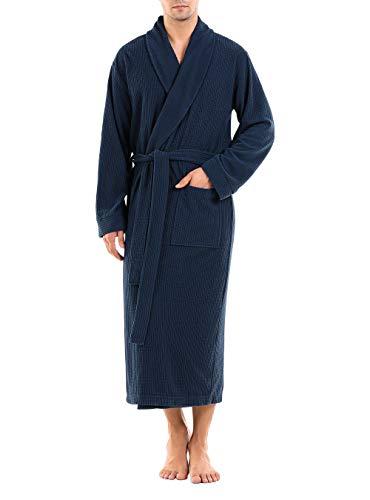DAVID ARCHY Men's Plush Robe Ultra Soft Waffle Fleece Shawl Collar Big and Tall Long Bathrobe Cozy...