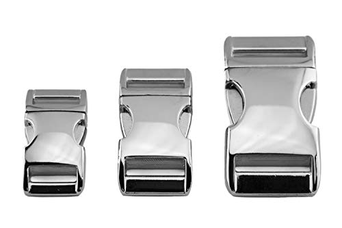 ALU MAX kliksluiting, steekgesp van lichtgewicht aluminium, zilver glanzend, verschillende maten, 25 mm