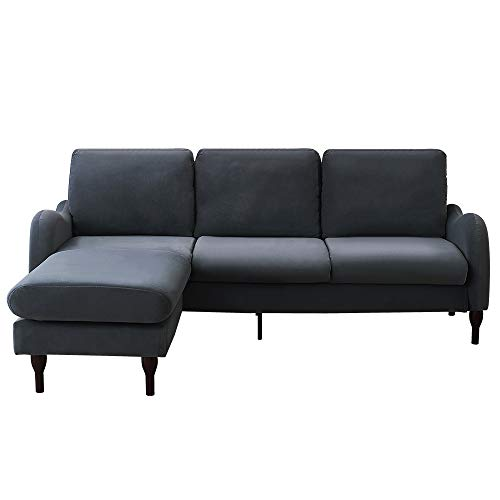 Panana L Shaped Corner Sofa Crushed Velvet 3 Seater Sofa Reversible Left & Right Hand Side Chaise Stool Settee Living Room Furniture Grey