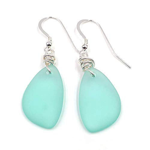 Popular Sea Foam Green Sea Glass Earrings with Charming Handmade Silver Knot on Sterling Silver Hooks, Perfect Gift, by Aimee Tresor Jewelry