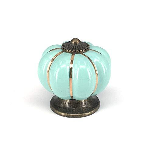 FSSQYLLX Perillas Manija de cerámica Azul Turquesa Calabaza Manija de Armario de Cocina Manija de cajón de Armario