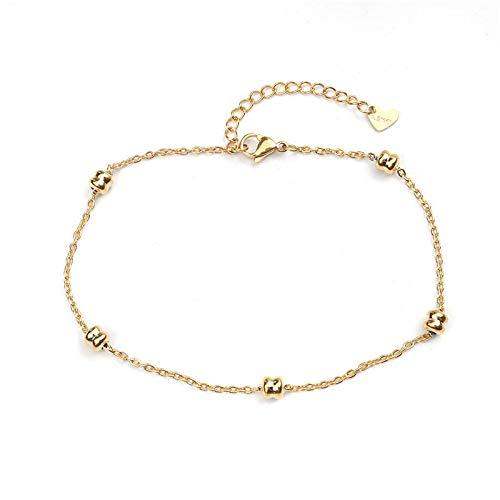 HETHYAN Tobillera de acero para mujer, color dorado en el pie, cadena de pie descalzo, joyería femenina regalos (color metal: estilo A)