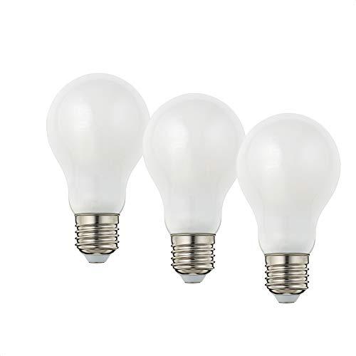 Hellum Bombilla LED de filamento E27, luz blanca cálida, 2700 K, 4 W, mate, 3 unidades, 206203