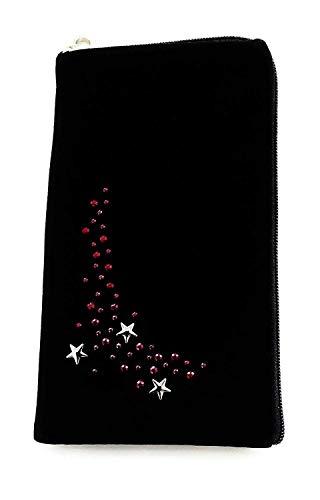 gtsk Reissverschluss Handy Tasche schwarz mit Strass Motiv Pink Stars geeignet für Realme X2 pro - Soft Hülle Etui Schutz Hülle