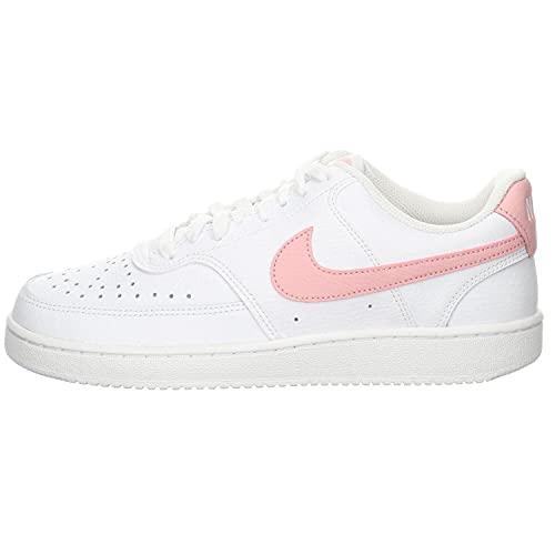 Nike Court Vision Low, Zapatillas Mujer, Blanco y Rosa Brillante, 40 EU