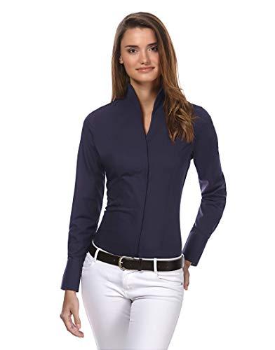 Vincenzo Boretti Damen Bluse mit Kelchkragen leicht tailliert 100% Baumwolle bügelleicht Langarm Hemdbluse mit Stehkragen elegant festlich auch für Business dunkelblau 38