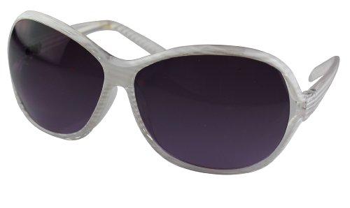 Alex Flittner Designs Nerd Sonnenbrille mit Streifen in weiß