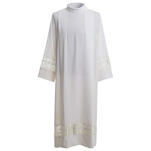 BLESSUME Priest ALB Liturgical Church Garment Cross Lace Box Pleated ALB (XL) White