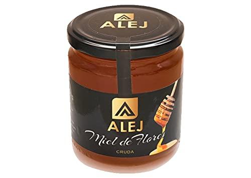 Alej Miel de flores Pura de Abeja Natural Ecologica Gourmet Cruda, Miel 100% Pura Natural Española Honey Sin Filtrar, En Tarro de Cristal de 500g