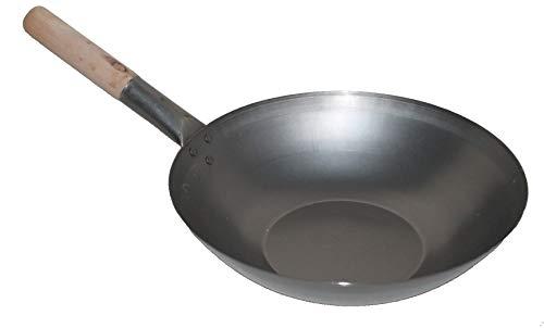 AAF Nommel ® Wok ca. 32 cm Durchmesser Flacher Boden für Gas, Gastronomie, Wokpfanne