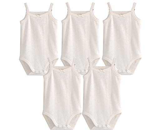 Infant Baby Girls Sleeveless Onesies Tank Top Cotton Baby Bodysuit Pack of Baby Summer Colorful Clothes Outfit (2-3 T, 5 Pieces White)