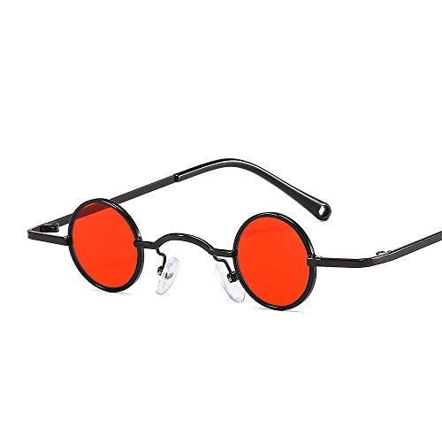 ZYIZEE Gafas de Sol Retro Mini Gafas de Sol Redondas Hombres Marco de Metal Oro Negro Pequeño Redondo Gafas de Sol con Marco Accesorios para los Ojos-D