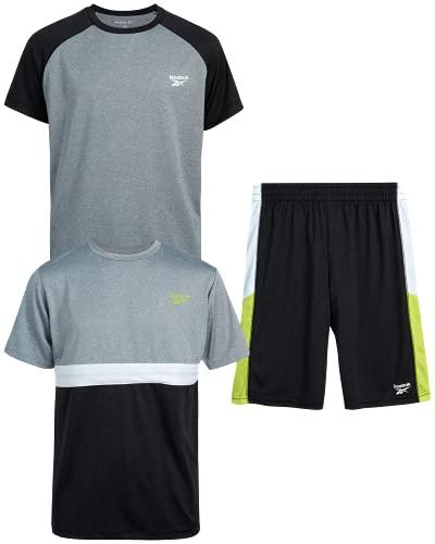 Reebok Boys 3-Piece Athletic Active Sports Tee-Shirt and Short Set, (Size 6, Grey/Black)