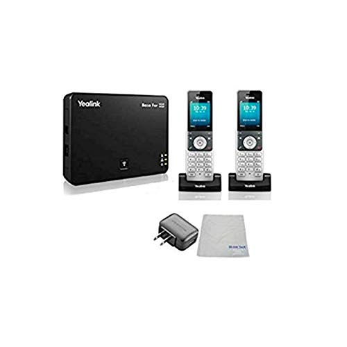 Global Teck Bundle of Yealink W56P IP Cordless Phones Office Bundle-DECT Handset and Base Unit, Power Supply and Microfiber Cloth   Requires VoIP Service (Yealink W56P Base and 2 handsets)