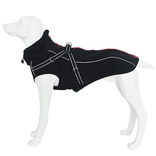 Petilleur Hundemantel Hundejacke Winter Warme mit Verstellbaren Riemen und Reflektierenden Streifen für Mittlere und Große Hunde