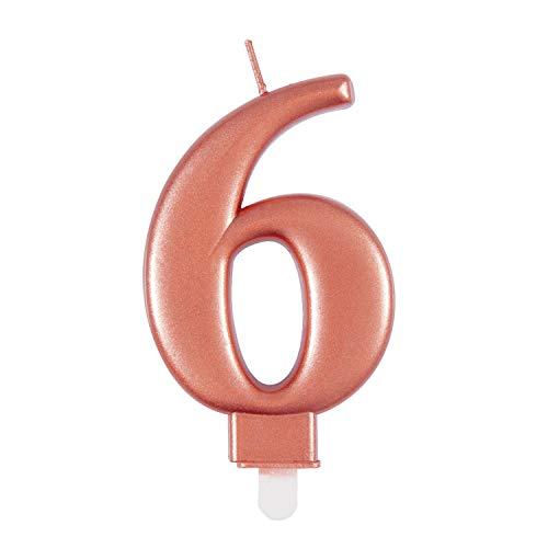 Unique 19626 - Candela per compleanno, numero 6-9 cm, colore: Oro rosa | Metallico | 1 pezzo, Rosegold