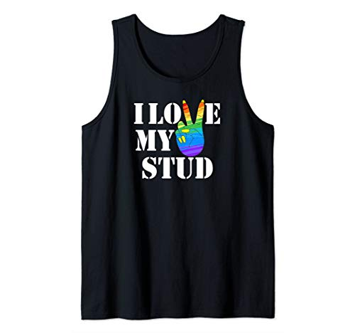 Lesbian Couples Clothes I Love My Stud Rainbow Peace Sign Tank Top