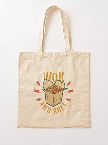 Wok Roll Oriental Funny Food Typography Asian Spicy Tote en coton très sac | Sacs d'épicerie de toile sacs fourre-tout avec poignées sacs à provisions en coton durable